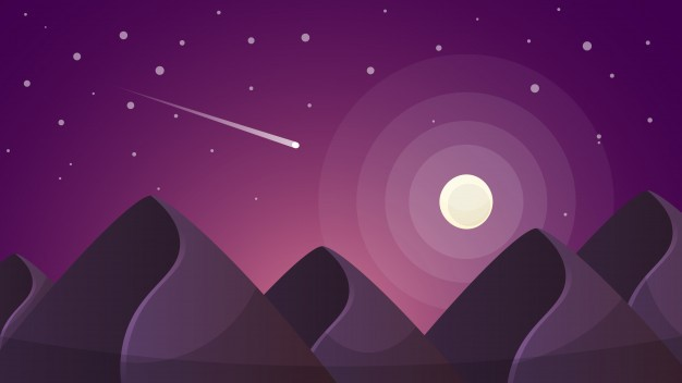 Image:  Travel Night Cartoon Landscape. Fir, Comet, Star, Moon, Road Ill Vector