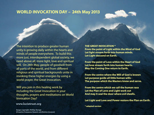 e-card promoting World Invocation Day with adapted wording of the Great Invocation